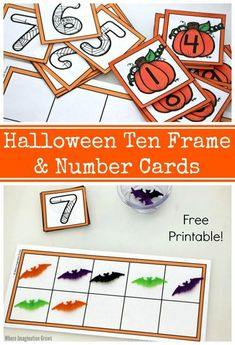 Halloween ten frames and number cards for preschoolers! A hands-on way to learn counting and number sense. Print and go with this simple Halloween-themed learning activity for kids! Practice counting and simple addition with pumpkins and spiders or even bats! Free printable for preschool, daycare, or homeschool use! #halloweenactivities #printables #preschoolmath #learningactivities #preschool Halloween Math, Halloween Activities, Halloween Themes, Halloween Crafts, Holiday Activities, Numbers Kindergarten, Learning Activities, Preschool Activities, Teaching Ideas