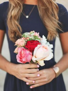 navy dress for bridesmaids, i would simple adore this but with mustard colored flowers