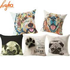 Hyha 2016 Hot Sell Pug Dog Cushion Cover Sleep Dog Throw Pillpw Cover Animal Watercolor Cushion Cover for Sofa Decoratove Pillow Dog Throw, Throw Pillows, Carlin, Textiles, Watercolor Animals, Home Textile, Unique Vintage, Pugs, Pug Dogs