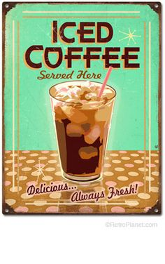 This Iced Coffee Wall Sticker fills your diner, cafe, or kitchen wall decor to the brim with vintage style. Peel and stick wall graphic is removable with no residue left behind. Coffee Tin, Iced Coffee, Coffee Shop, Coffee Corner, Coffee Cups, Barista, Breakfast Diner, Coffee Jitters, Vintage Tin Signs