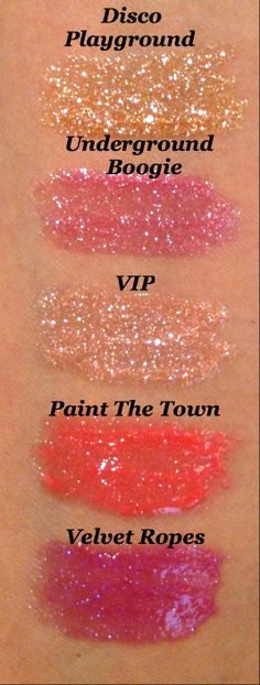 Swatches of @Sophia Thomas oranje Cosmetics #GlamGloss #AquaLuxe