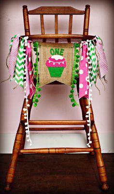 Cupcake Cutie Birthday Age HIGH CHAIR highchair Birthday Banner /Party/ Photo Prop/Bunting/Backdrop/ Nursery Banner/Custom