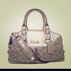 HP Coach silver handbag Used literally once. Perfect condition. Super cute. Silver bag. Coach Bags
