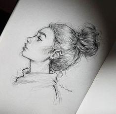 Pencil Art Drawings, Art Drawings Sketches, Cool Drawings, Drawings Of Girls Faces, Hipster Drawings, Face Drawings, Art Du Croquis, Beautiful Drawings, Drawing People