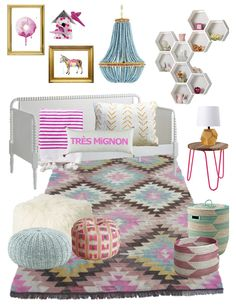 SHOP:  DONUT ART PRINT // CHERRY BIRD HOUSE // DONKEY ART PRINT //  CHANDELIER // HONEYCOMB WALL SHELVES // DAYBED // HOT PINK STRIPED POM POM  BLANKET // TRES MIGNON PILLOW // WHITE + YELLOW PILLOW // SIDE TABLE //  GOLD LAMP // FAUX MONGOLIAN LAMB POUF // AQUA POUF // HOT PINK COLORFUL  POUF // KILIM RUG // AQUA FLOOR BASKET // PINK FLOOR BASKET  This room was inspired by my little one's love for the colors pink and  blue, and sherbet ice cream.  I envision this room with blank white…