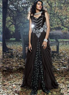 Mesmeric Black Color Designer Gown comes with Heavy Stone work and butta work  Maximum Bust Size - 42 Inches.