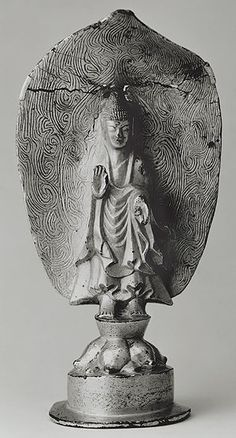 Standing Buddha, Three Kingdoms period, Goguryeo kingdom (37 B.C.–668 A.D.), dated kimi year (539) From Uiryong, South Gyongsang Province Gilt bronze, H. 6 3/8 in. (16.3 cm) The National Museum of Korea, Seoul National Treasure no. 119