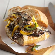 For a healthier version of a Philly cheesesteak sandwich, lean sirloin steak, portobello mushrooms, peppers, poblano chiles, and caramelized onions are smothered with melted Monterey Jack cheese -- and it's still lower in fat, carbs, and calories than a restaurant-style cheesesteak sub. #DiabeticFriendly #recipe