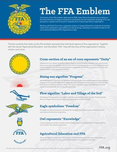 """The five symbols that make up the FFA emblem represent five individual aspects of the organization. Together with the words """"Agriculture Education"""" and the letters """"FFA,"""" they tell the story of the organization's history, mission and vision."""