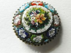 Pretty Antique Pendant/Button Micro Mosaic Flower/Floral Mounted in Brass