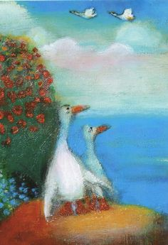 .Raija Nokkala Grandma Moses, Naive Art, Pastel Art, Bird Art, Cute Pictures, Photo And Video, Artist, Painting, Inspiration