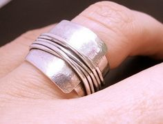 Wrapped Wide Band Sterling Silver Ring Wrapped Wire Ring Woven Ring Handcrafted Ring Destiny Wrapped Wide Band Sterling Silver Ring by deliasthompsonDestiny Wrapped Wide Band Sterling Silver Ring by deliasthompson Metal Jewelry, Jewelry Art, Sterling Silver Jewelry, Jewelry Rings, Jewelry Accessories, Silver Rings, Fashion Jewelry, Jewelry Design, Diamond Jewelry