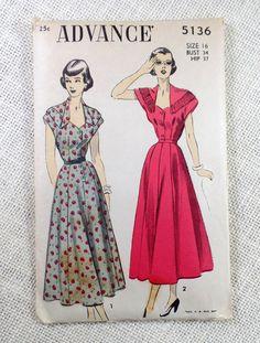 Vintage Pattern Advance 5136 dress sewing by momandpopcultureshop