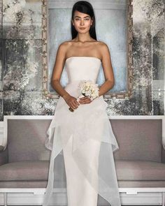 Romona Keveza Fall 2017 Wedding Dress Collection   Martha Stewart Weddings – Pearl strapless wedding dress made of 5-ply silk crepe features a slim column skirt with 2-tiered illusion overskirt.
