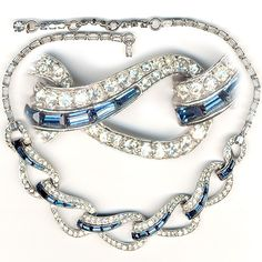 Boucher Pave and Sapphire Baguettes Linked Swirls Necklace