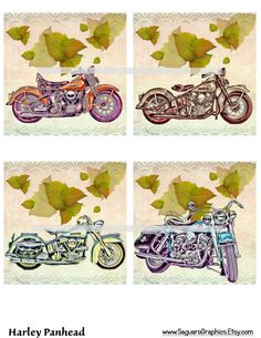 Harley Panhead Motorcycles Altered Art - Coasters Artwork, 4.0 inch Squares, Arts and Craft Projects by SaguaroGraphics on Etsy