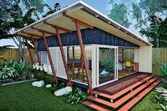 The Kooka – 2 bedroom, contemporary, forward thinking design created. Featuring 2 bedrooms across 70 sqm the Kooka boasts brilliant engineering, stylish design & open space –. Modern Small House Design, Tiny House Design, Shed Design, Roof Design, Bungalows, Diy Cabin, Garden Studio, Granny Flat, Tiny House Plans