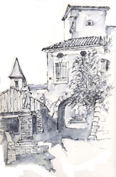Montgey in pen and wash by artist Allan Kirk