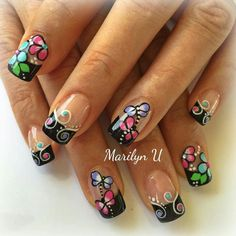 Creative Nail Designs, Creative Nails, Nail Art Designs, Nails Design, Fancy Nails, Pink Nails, Pretty Nails, Animal Nail Designs, Tropical Nail Designs