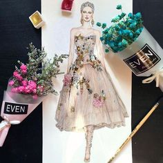 Outfit-Zeichnung Source by jana_schelli Illustration Mode, Fashion Illustration Sketches, Fashion Sketchbook, Fashion Sketches, Paper Fashion, Fashion Art, Love Fashion, Floral Fashion, Modelos Fashion