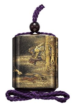 A FOUR-CASE LACQUER INRO, EDO PERIOD (18TH CENTURY). Depicting Mongols hunting game(Rear View)