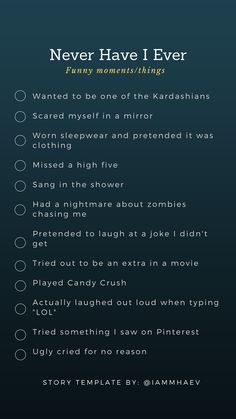 Never have I ever funny moments INSTAGRAM STORY TEMPLATE Would You Rather Questions, Fun Questions To Ask, Funny Questions, This Or That Questions, Sleepover Games, Fun Party Games, Sleepover Party, Instagram Story Template, Instagram Story Ideas