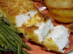 Parmesan Crusted Halibut. This was wonderful. Next time I will use panko with herbs and garlic powder instead of flour.Even the egg isn't needed becasue the fish is wet enough to take the dry covering. I baked ours for 8 mins then turned them and baked for another 2. It was a bit too long. I'll reduce by 2 mins next time but I think the fish DOES need turning just to crisp up the other side! Served with creamed leeks and baby new pots!!