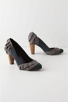 Anthropologie Small Doses Heels 10.5, Blue Gray Suede Heels w/Ruffles Due Farina #DueFarina #PumpsClassics