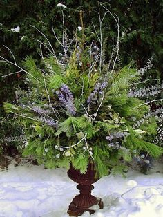 Winter pot 2 by Chalets Specialty Garden Care staff. Several winter pots for inspiration. Love this blue arrangement. Christmas Urns, Christmas Planters, Christmas Arrangements, Outdoor Christmas Decorations, Winter Christmas, Floral Arrangements, Winter Decorations, Fall Winter, Christmas Garden