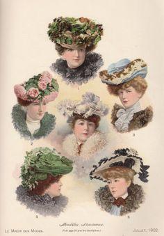 """New models of hats, """"Le Miroir des Modes"""", Paris, 1902 #Booktower"""