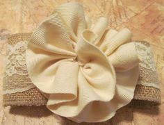 LACE & BURLAP ROSETTE Hairbow Hair Bow by PearlHeartDesigns, $14.99