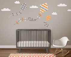 Nursery Wall Decal Kids Wall Sticker - Kite Decal With Custom Name Decal