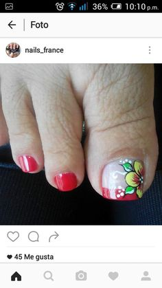 Uñas French Pedicure, Pedicure Nail Art, Toe Nail Art, Diy Nails, Acrylic Nails, Cute Pedicure Designs, Toe Nail Designs, Nail Picking, Cute Pedicures