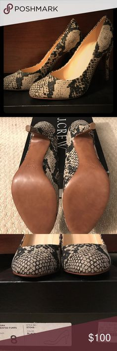 """NWT J.Crew Mona Printed Pumps (Style 57046) - Sz 8 Beautiful, brand new heels from J.Crew (brand new, as in never been worn, with tags in original box, but they were bought a few years ago). J.Crew Mona printed pumps (Item #57046), Size 8. Crafted in high quality printed Linen. 3 3/4"""" self-covered heel. Soft leather lining and sole and a chic rounded toe. J. Crew Shoes Heels"""