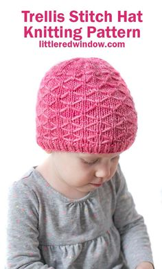 This beautiful trellis stitch hat knitting pattern is knit in the round and has a gorgeous diamond pattern all the way around. It will look adorable on your newborn, baby or toddler! Kids Knitting Patterns, Baby Hat Knitting Pattern, Knitting Stitches, Baby Knitting, Hat Patterns, Knitted Heart, Learn How To Knit, Crochet Projects, Trellis