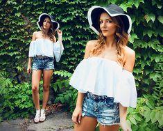 Get this look: http://lb.nu/look/8398099  More looks by Melania Plasko: http://lb.nu/melaniaplasko  Items in this look:  Games White Blouse, Gamiss Black White Hat   #artistic #bohemian #chic