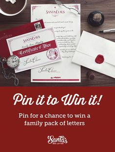 Pin it to win it! From www.santasredletter.com  We're giving away 5 family packs of letters ($60 value). To enter all you need to do is pin this image with the hashtag #santasredletter  -- Winners will be selected November 30th, 2016. Merry Christmas!