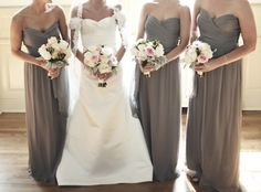 the bridesmaid gowns + off shoulder.  Love.