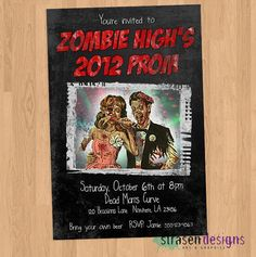 Zombie Prom Party Invitation Birthday or Halloween Party Printable Halloween Invitations, Printable Birthday Invitations, Party Printables, Zombie Party Decorations, Zombie Prom, Pop Baby Showers, Monster Prom, Gold Birthday, Prom Party