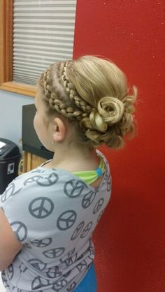 Little girl, Braided hair updo for wedding, so cute!