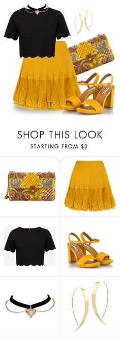 """""""nod to the bumble bee (outfit only)"""" by runners ❤ liked on Polyvore featuring MANGO, Chloé, Ted Baker, Fratelli Karida and Lana"""