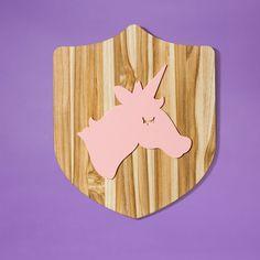 Placa de madeira Unicórnio