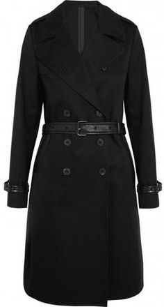 Black Faux-Leather-Trim Trench Coat