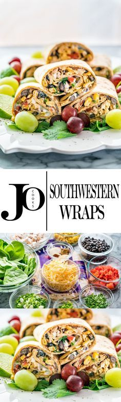 These Southwestern Wraps are packed with nutrition, containing black beans, chicken, spinach, roasted red peppers and a low fat sour cream and blue cheese spread. Easy and nutritious!