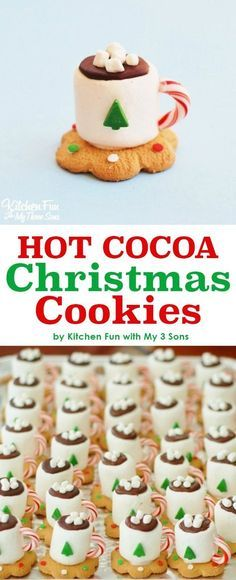 Adorable Hot Cocoa Christmas Cookies made with marshmallows. Looks just like a tiny cup of hot chocolate. Perfect Holiday treat for a school party or Christmas party. Kids will love this no bake fun food idea. Diy Christmas Snacks, Christmas Baking For Kids, Christmas Deserts For Kids, Christmas Dessert Recipes, Chrismas Food Ideas, Christmas Baking Ideas Cookies, Christmas Cookies Unique, Christmas Ideas For Gifts Diy, Christmas Party Desserts