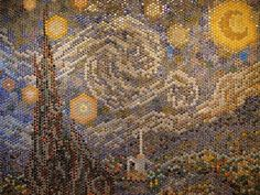 Starry Night made from bottle caps.