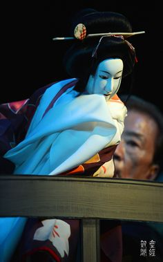 Bunraku: Ohatsu dressed in pure white dress with a resolution of death (The Love Suicides at Sonezaki) by The Sankei Shimbun