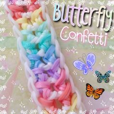 Butterfly confetti bracelet by Short cap because I'm lazy. and tired I woke up so early today Rainbow Loom Bracelets Easy, Loom Band Bracelets, Rainbow Loom Tutorials, Rainbow Loom Patterns, Rainbow Loom Creations, Rainbow Loom Bands, Rainbow Loom Charms, Rubber Band Bracelet, Loom Bands Designs