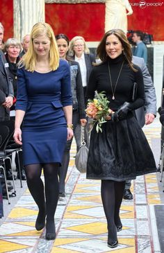 Crown Princess Mary of Denmark teamed for the first time with the Minister Sofie Carsten Nielsen at the Glyptothek in Copenhagen on 06 Feb 2014 for the Elite Research Prize.
