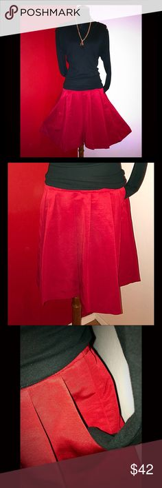 💥NEW💥  Ann Taylor Midi skirt Brand new red pleated beautiful Ann Taylor midi skater swing style skirt. Big pleats that look like gentle folds. Side zipper closure with hook eye security closure. Size: 12. Ann Taylor Skirts Midi